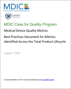 MDIC Medical Device Quality Metrics Best Practices