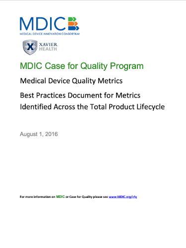 Medical Device Quality Metrics White Paper