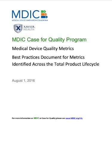 Medical Device Quality Metrics White Paper