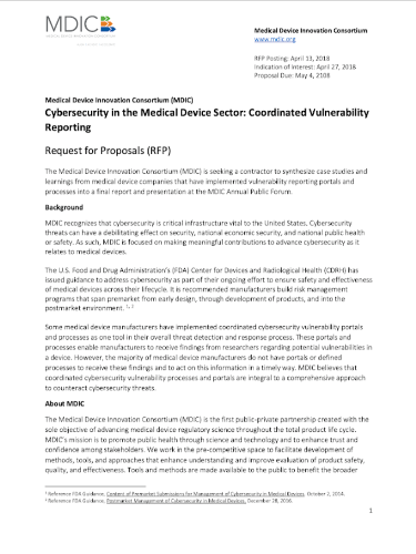 Cybersecurity in the Medical Device Sector: Coordinated Vulnerability Reporting RFP